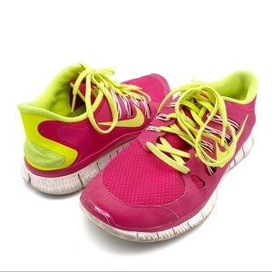 Nike Free 5.0 Pink and Green Sneakers Shoes 9.5